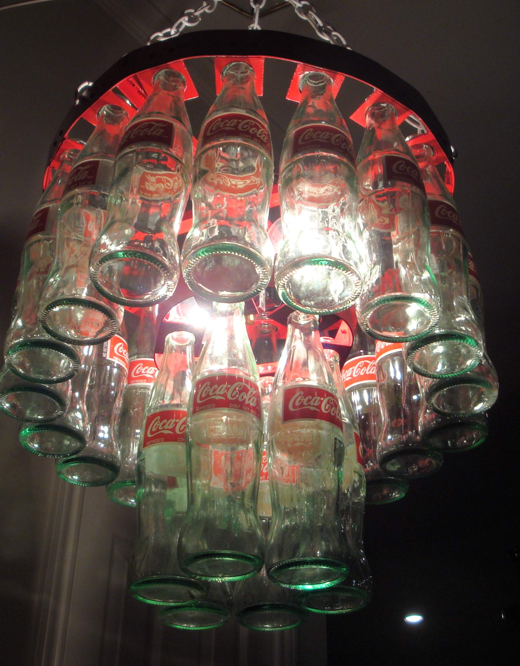 Coke bottle lamp 10 reasons to choose warisan lighting coke bottle chandelier with recycled bottles arubaitofo Images