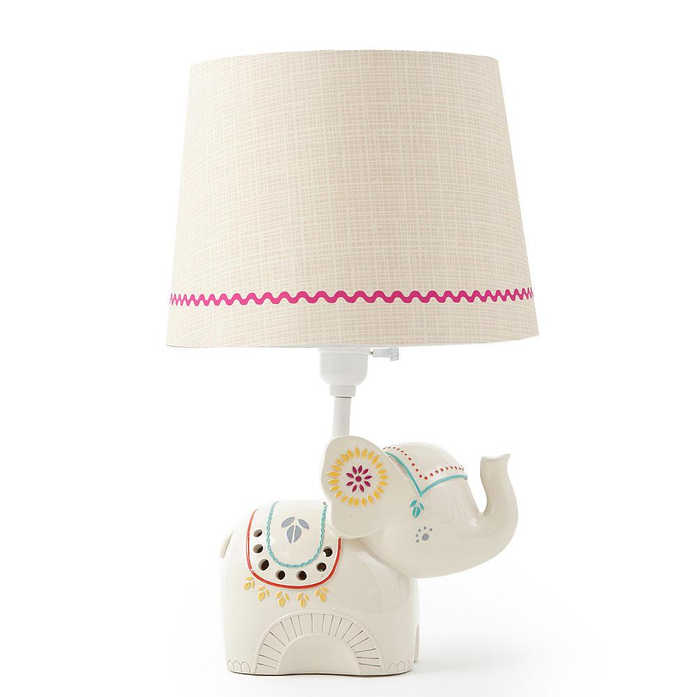 Cutie Chuckle Under The Elephant Lamp For Nursery