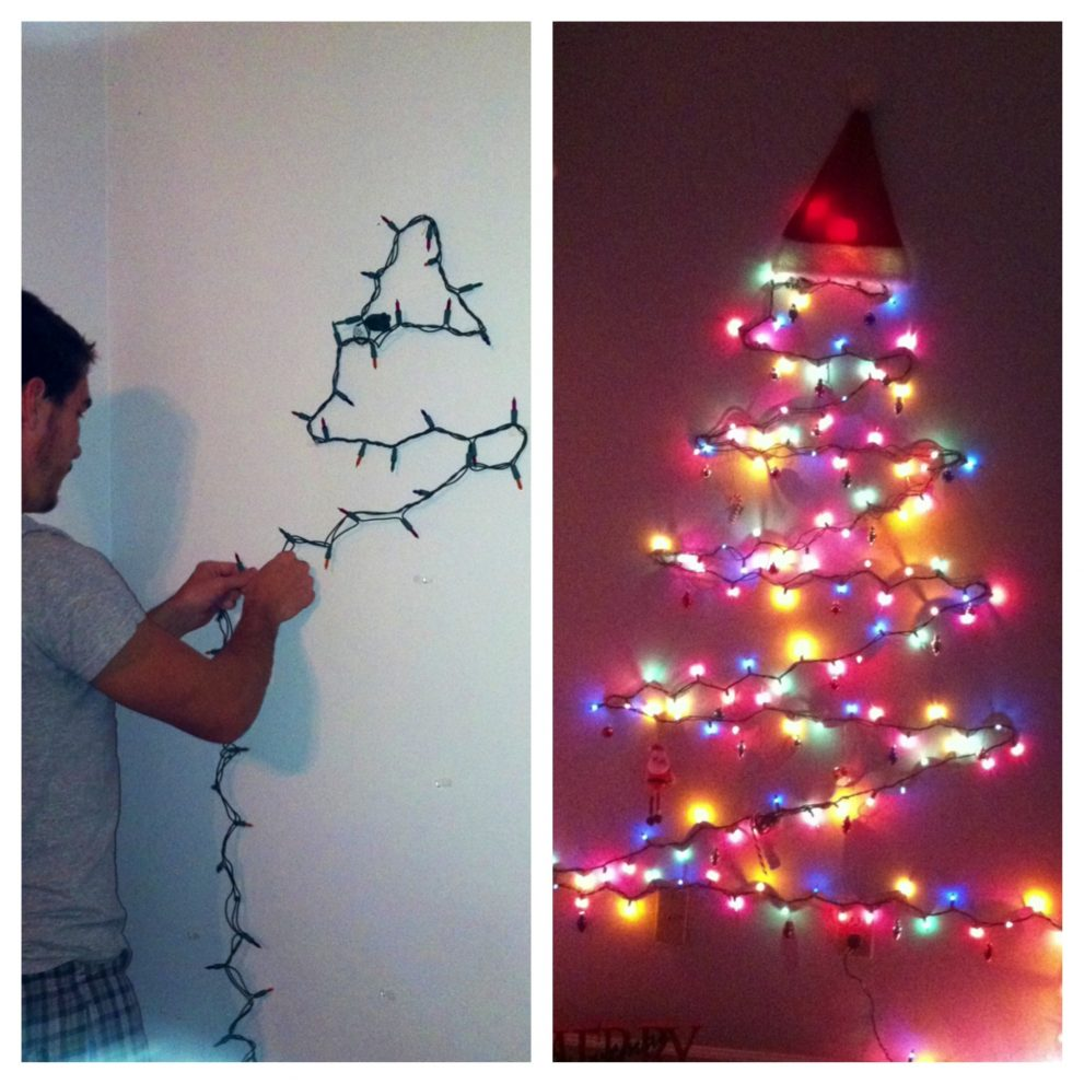 Now you can be able to enjoy your holiday with these decorative christmas  tree of lights on walls that are very cheap and easy to create.