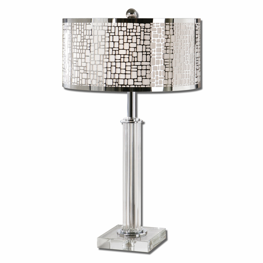 The Elegant Designs Trendy Sheer Shade Table Lamp With Hanging Crystals  Will Improve Your Live With Class And Modernity.