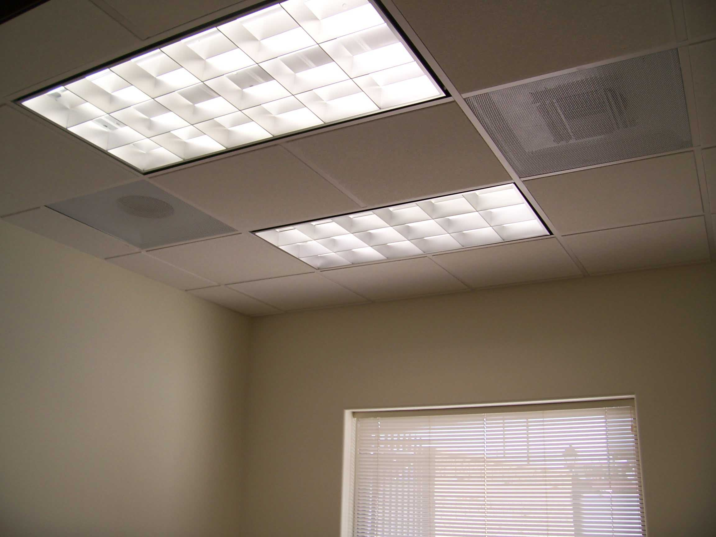 Glamorous Lighting using fluorescent ceiling lights