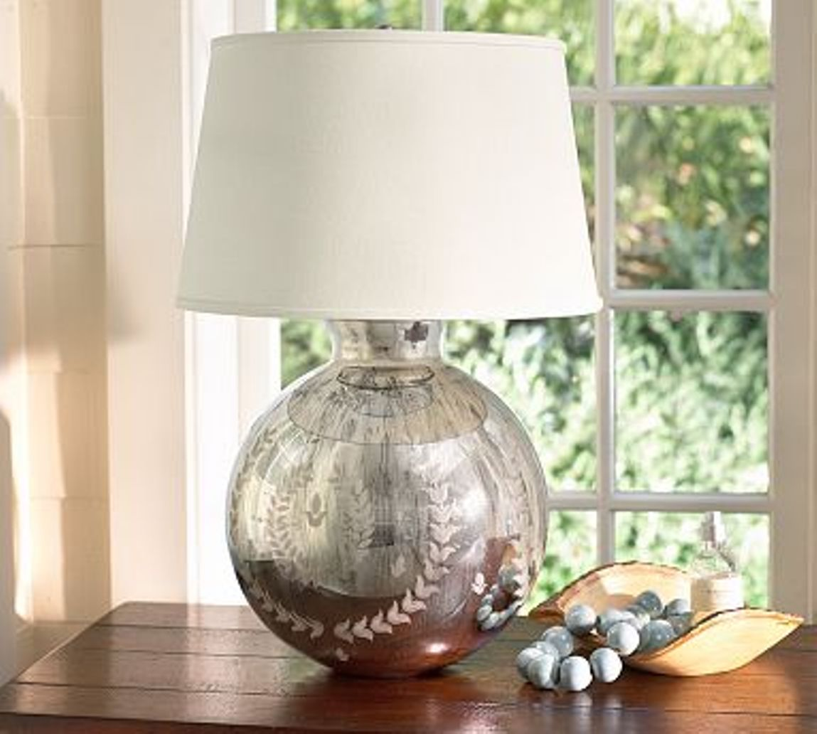 Mercury glass table lamps a nostalgic sparkle for every for Glass table lamps for living room