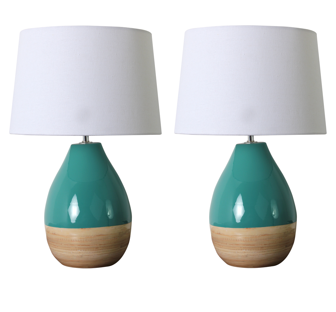 #6 Teal And Bamboo Lamps