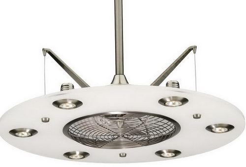 cage enclosed ceiling fan with light