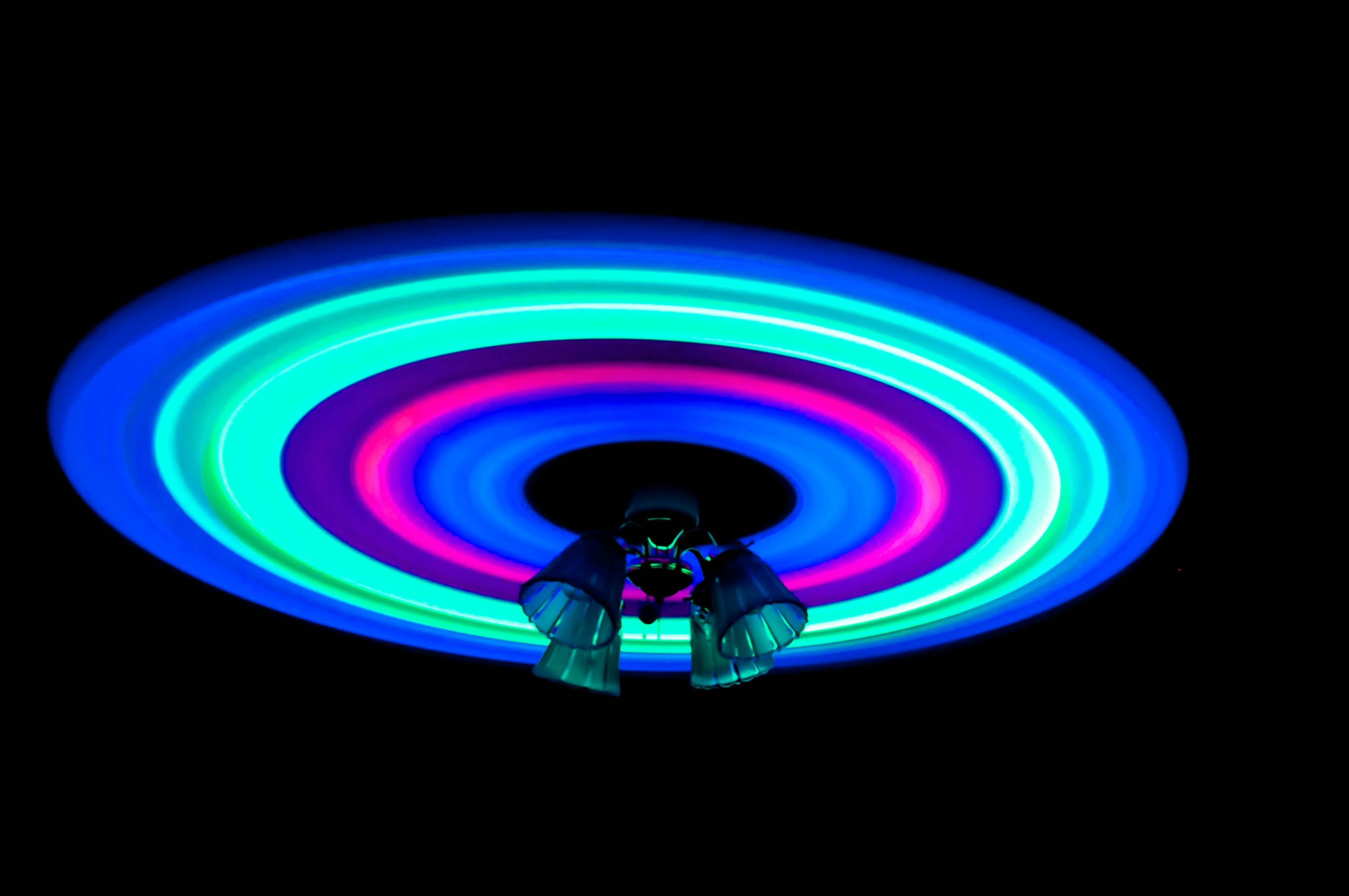 Neon ceiling fan add a statement to your room