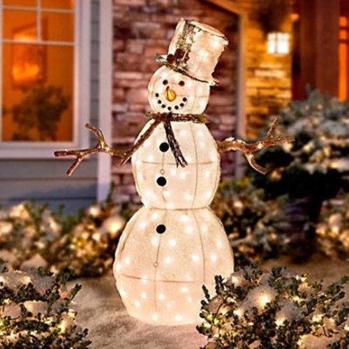 Snowman outdoor lights 12 ways to make your christmas for Outdoor light up ornaments