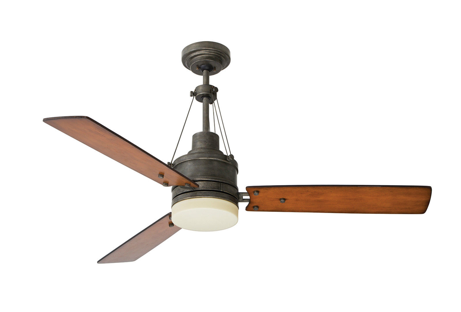 Antique ceiling fans bring the industrial flavor to the interior