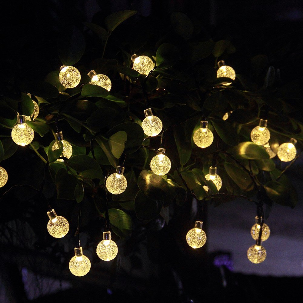 Outdoor Globe String Lights W/ White Pendant Bulbs As Patio Lighting  Fixtures Or Christmas Decor