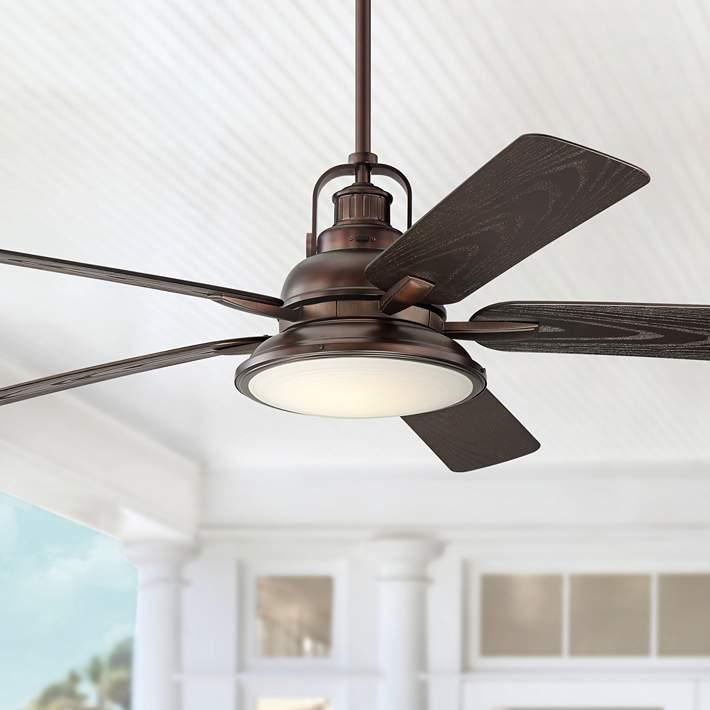 """3 Speed New Bronze//Oak HUNTER 53126 52/"""" Outdoor Decorative Ceiling Fan"""
