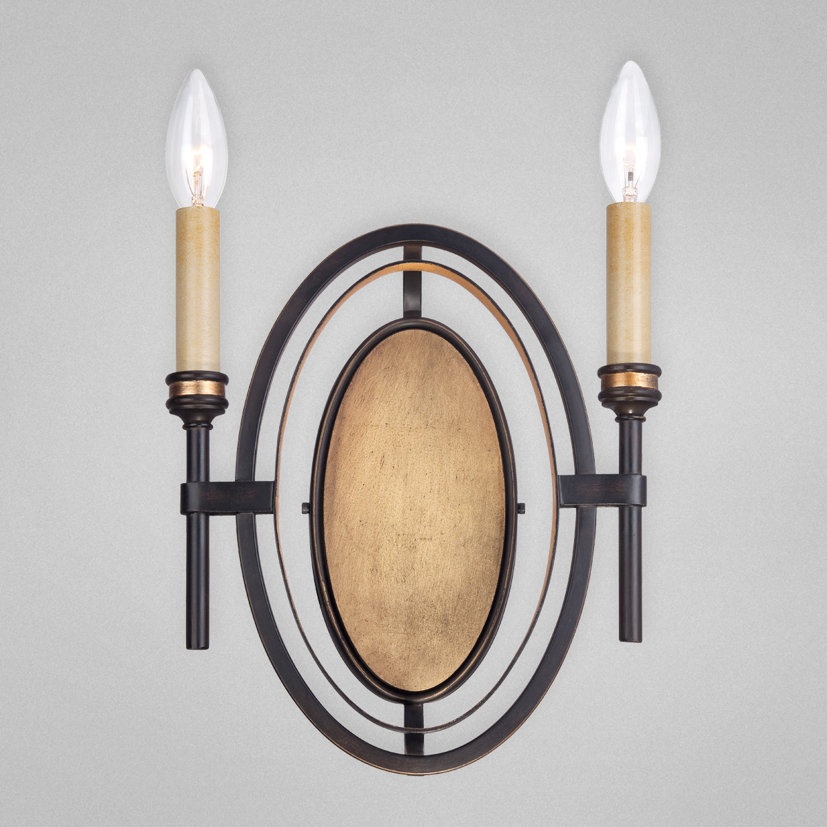 2 light wall sconce bronze photo - 10