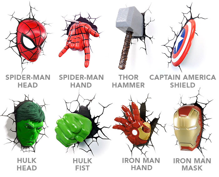 3d avengers wall lights photo - 1