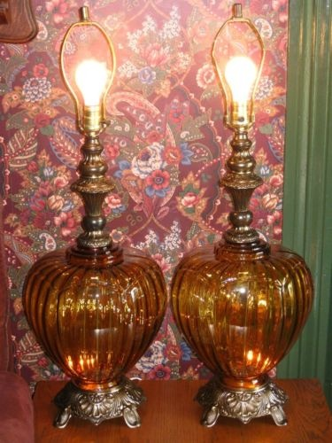 amber glass lamps photo - 10