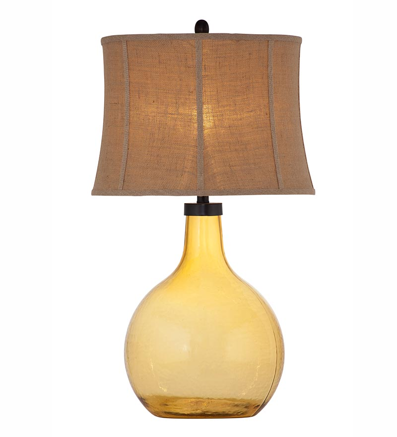 amber glass table lamp photo - 10