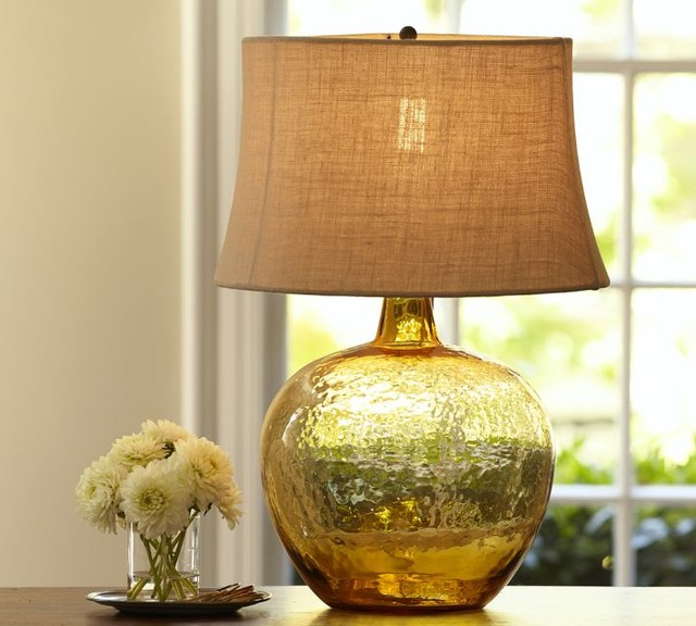 amber glass table lamp photo - 3