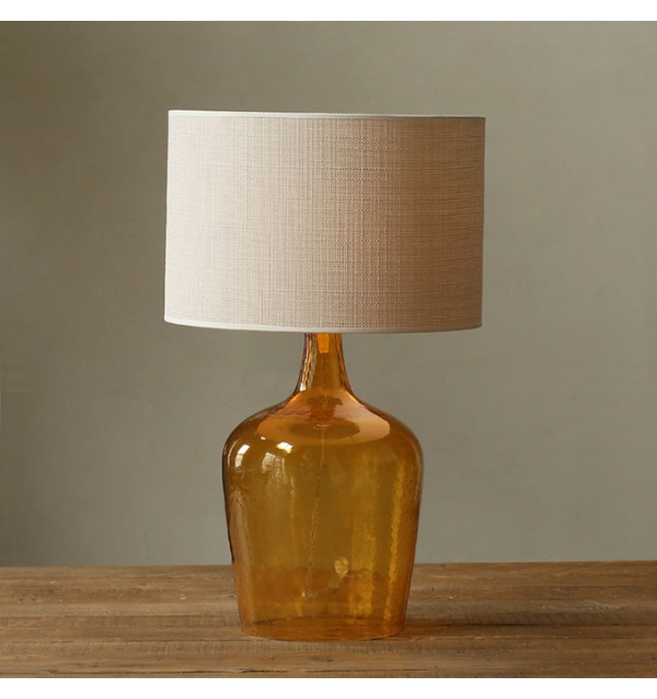 amber glass table lamp photo - 5
