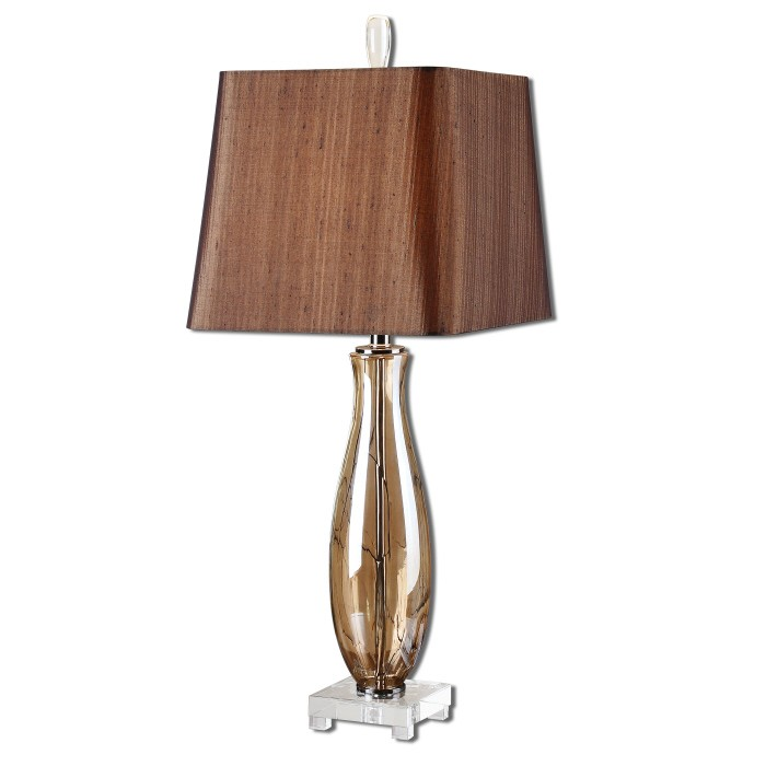 amber glass table lamp photo - 8