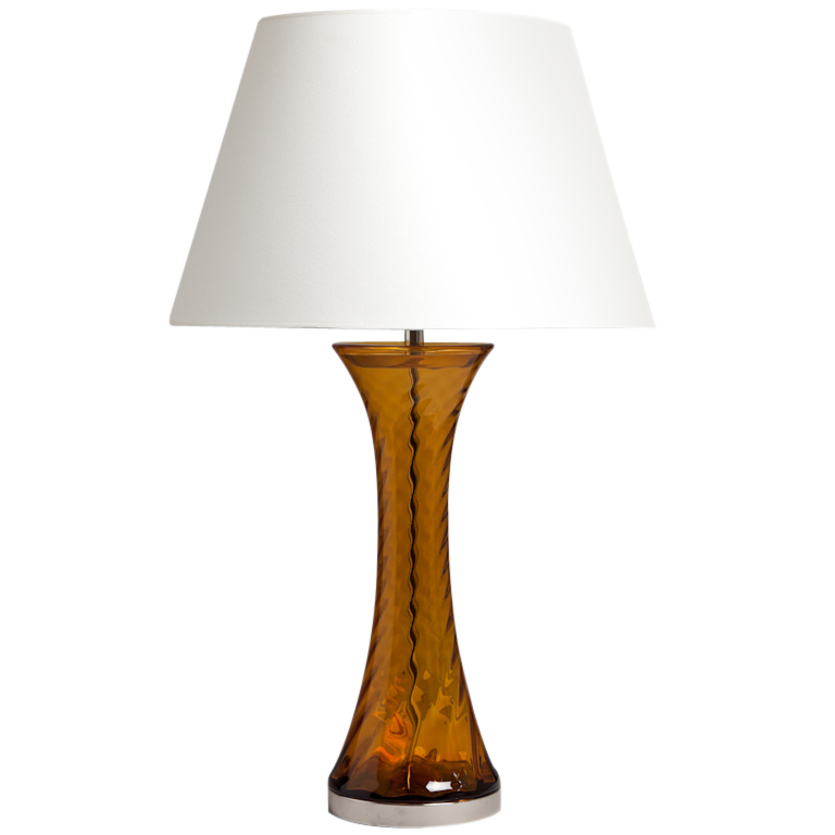 amber glass table lamp photo - 9