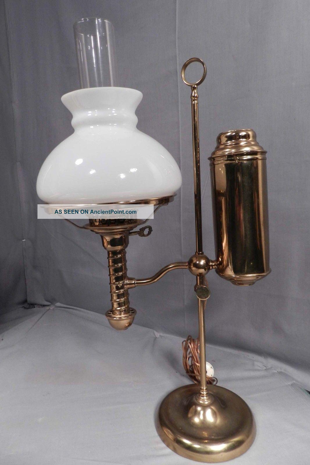 antique brass desk lamp photo - 6