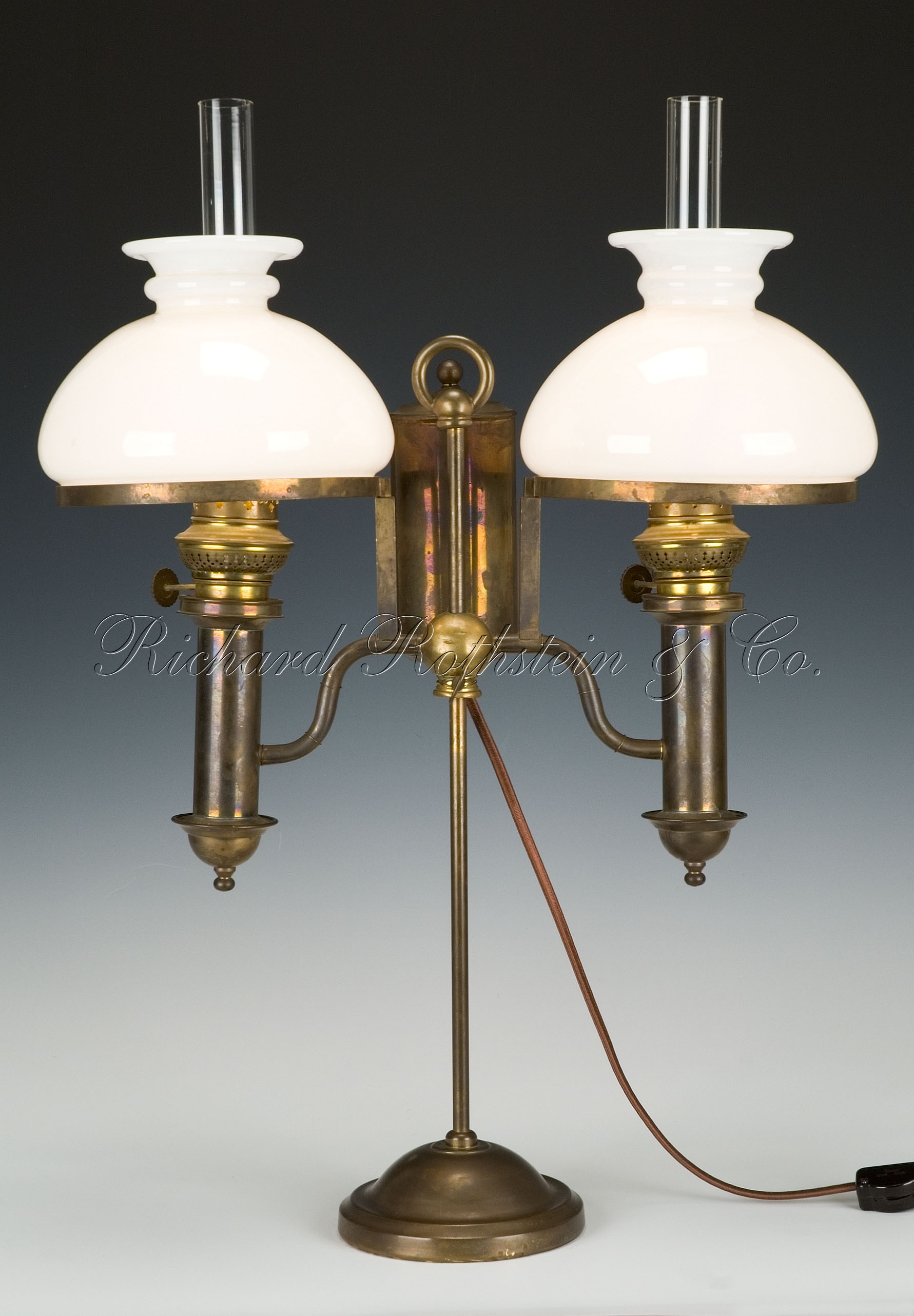 antique brass table lamps photo - 2