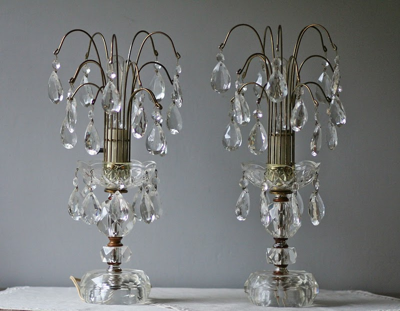antique crystal table lamps photo - 4
