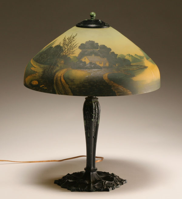 Antique Reverse Painted Lamps For Sale