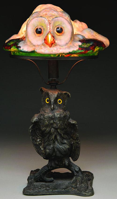 antique owl lamp photo - 3