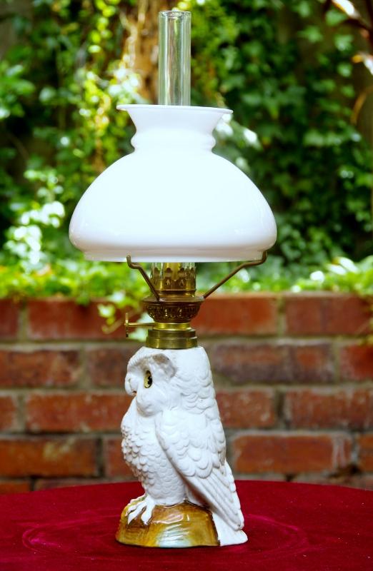 antique owl lamp photo - 7