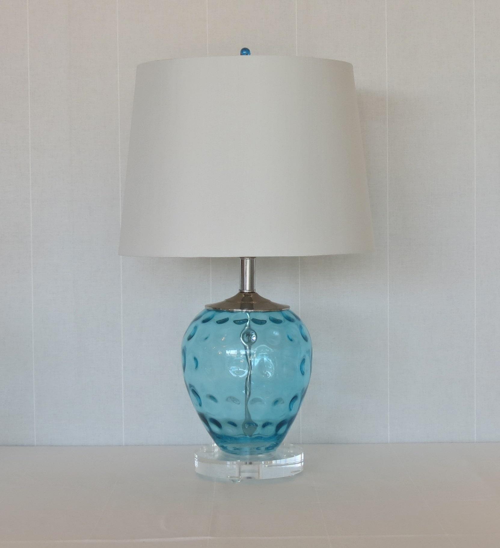 aqua glass lamps photo - 6