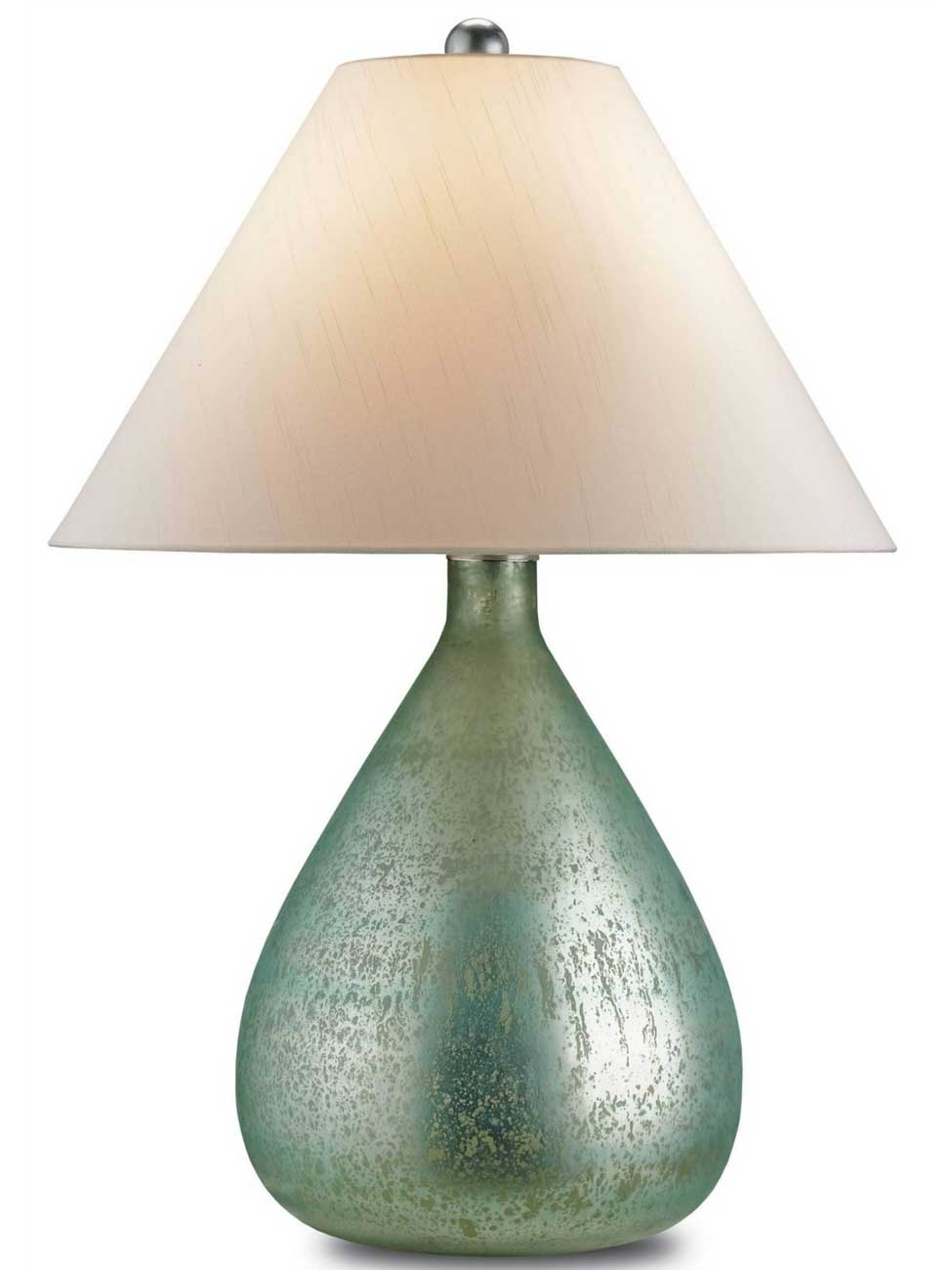 aqua glass table lamp photo - 1