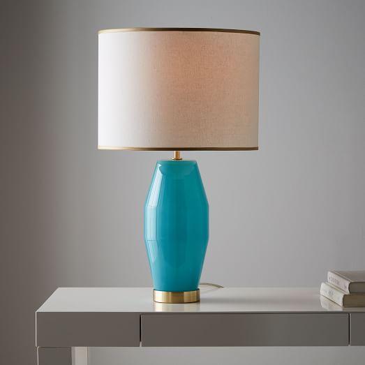aqua glass table lamp photo - 10