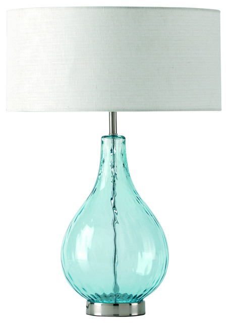 aqua glass table lamp photo - 2