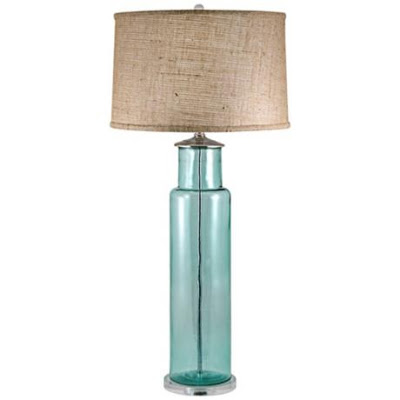aqua glass table lamp photo - 4