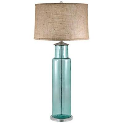 aqua glass table lamp photo - 4