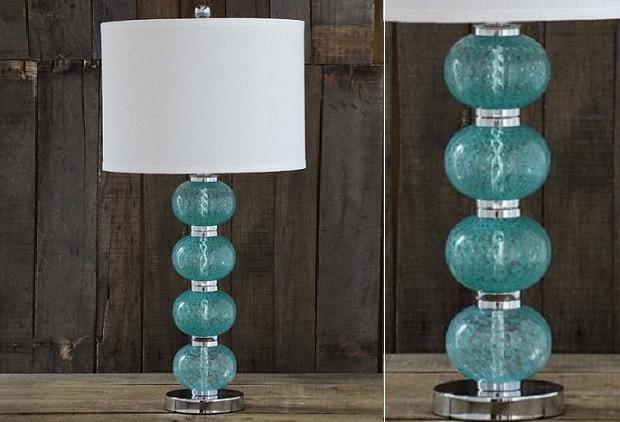 aqua glass table lamp photo - 6