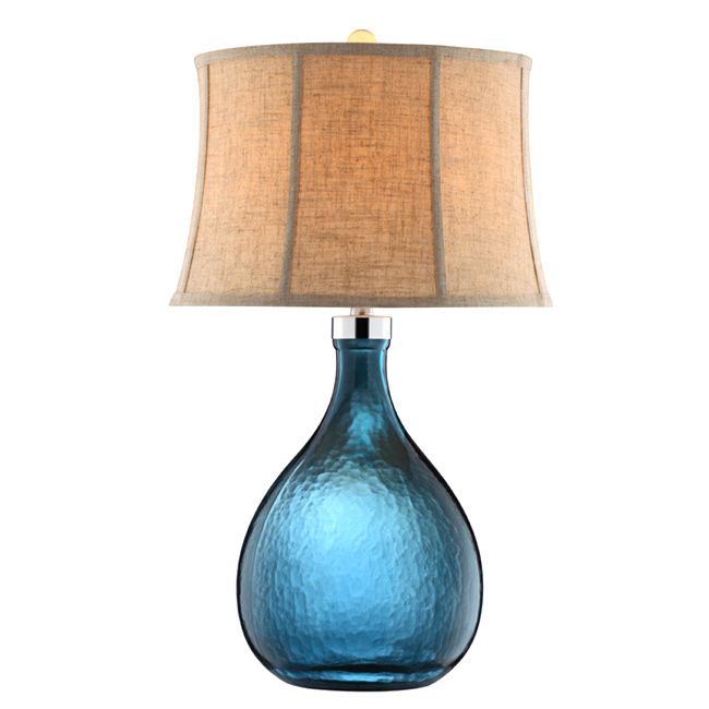 aqua glass table lamp photo - 8