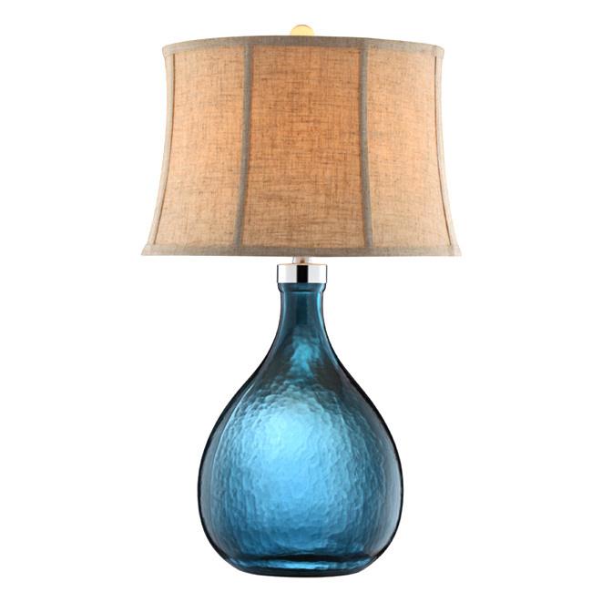 aqua glass table lamp photo - 8