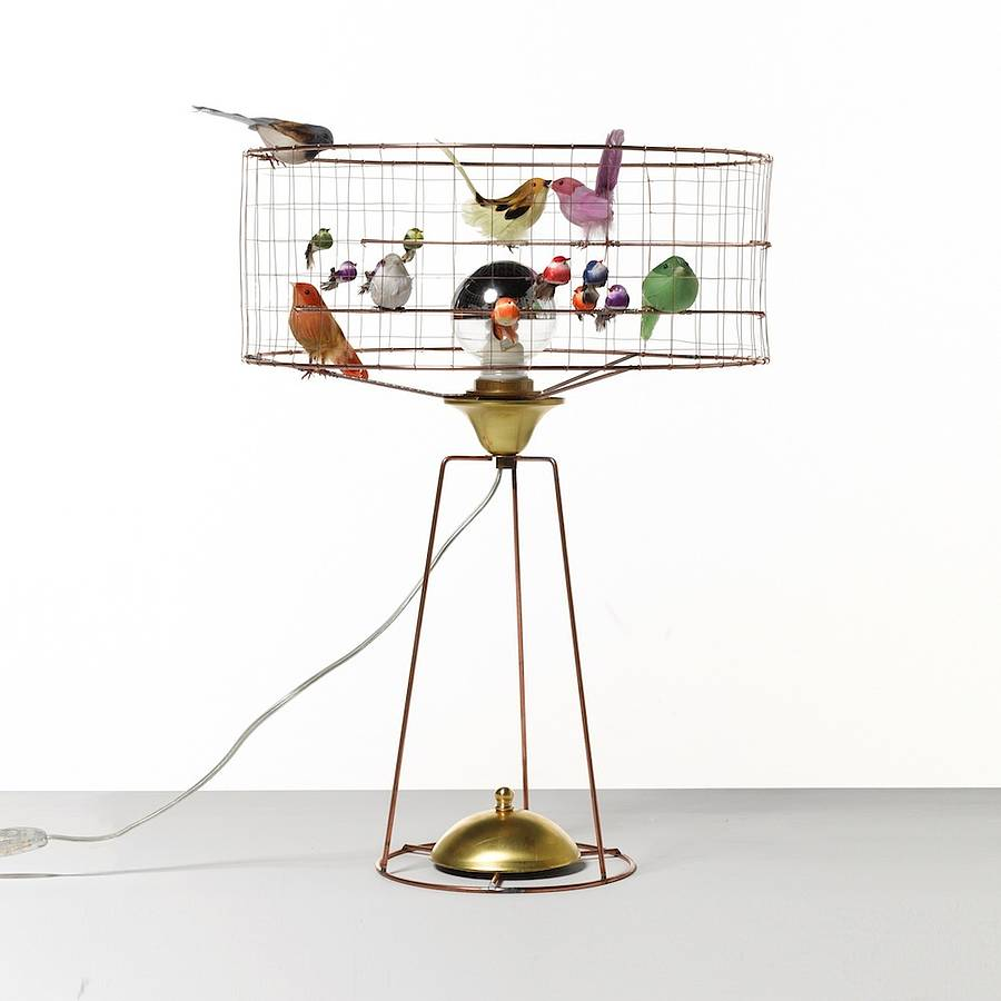 bird cage table lamp photo - 3