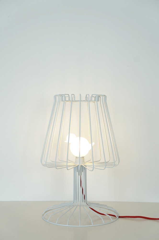 bird cage table lamp photo - 4