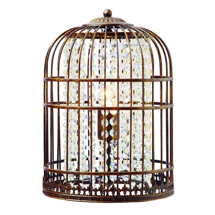 bird cage table lamp photo - 7