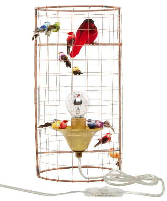 bird cage table lamp photo - 9