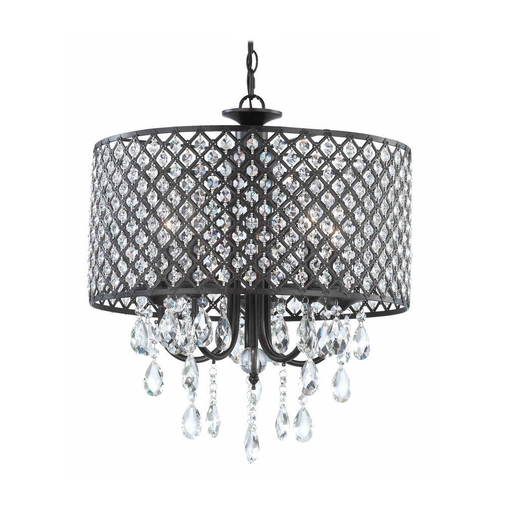 black chandelier table lamp photo - 10