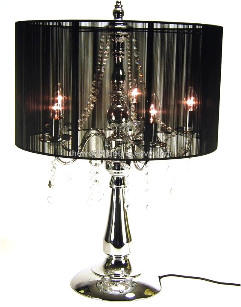 black crystal table lamp photo - 3