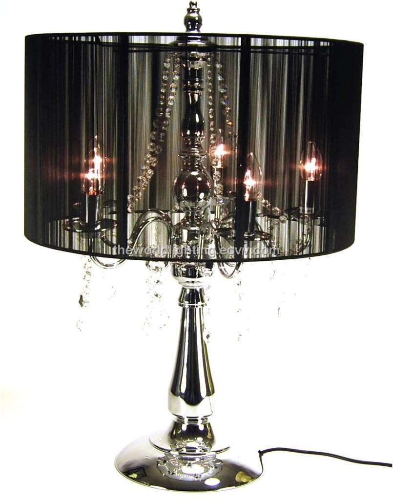 black crystal table lamp photo - 3