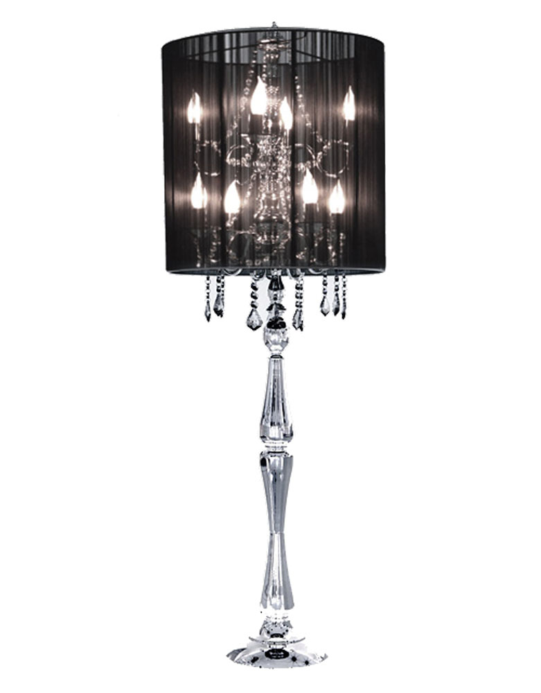 black crystal table lamp photo - 7