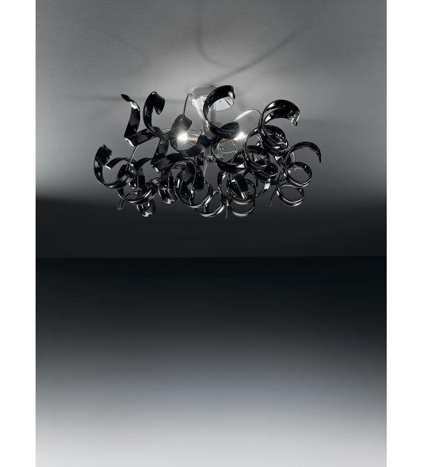 black glass ceiling light photo - 2