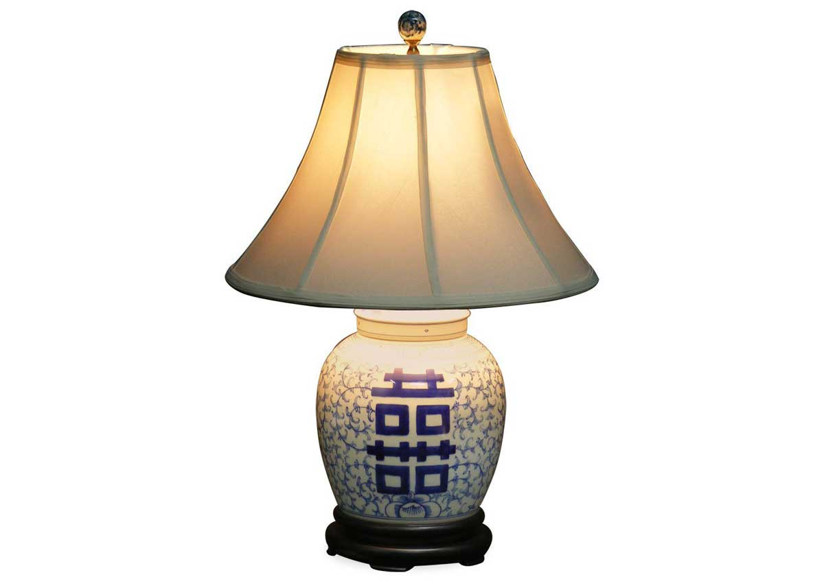 blue and white ginger jar lamps photo - 1