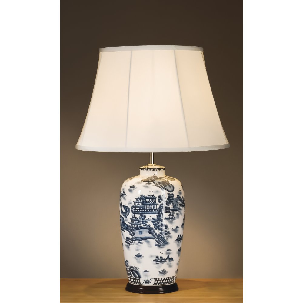 blue and white ginger jar lamps photo - 2