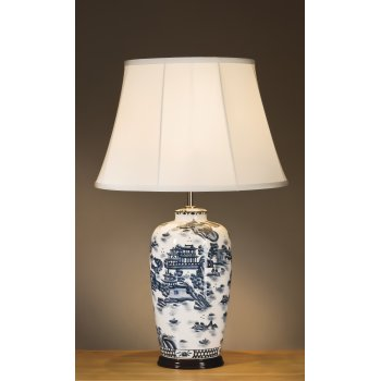 blue and white ginger jar lamps photo - 3