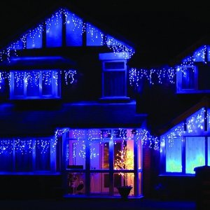 blue and white outdoor christmas lights photo - 3