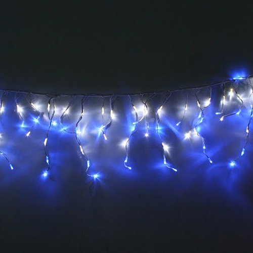 blue and white outdoor christmas lights photo - 6